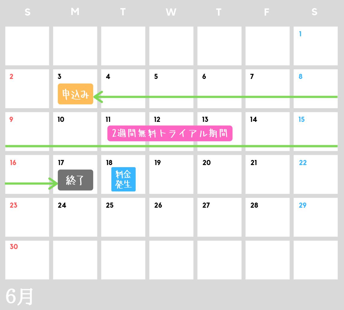 無料トライアルカレンダー