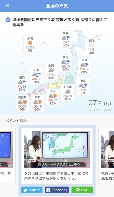 動画で天気をチェック