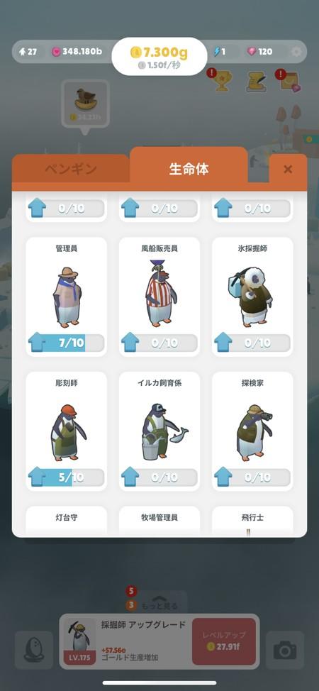 探検家や風船販売員といった装飾の異なるペンギン