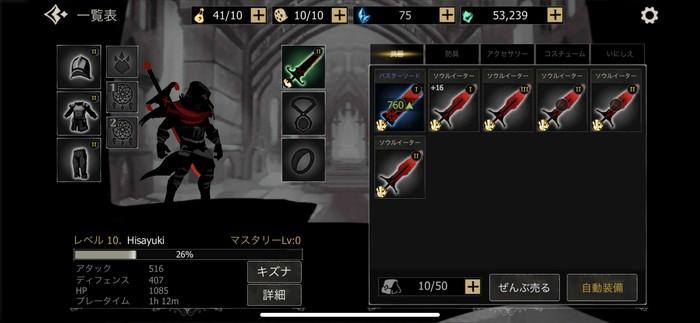 装備の装着で騎士の強化が進めやすい