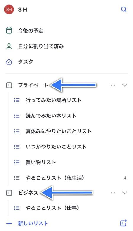 リストはさらにグループと呼ばれるフォルダー内に入れて整理することも可能